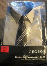 NWT BOYS DRESS SHIRT AND TIE SIZE 4 5 4/5 Grey Button Up Long Sleeve NEW