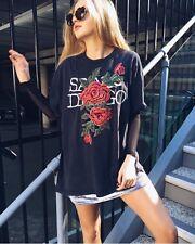 LF vinatge furst of kind black oversized rose embroidered shirtdress top NWT OS