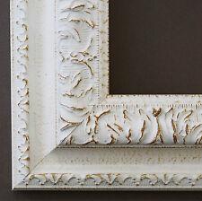 Bilderrahmen Rahmen Holz Shabby Barock Rom in Weiss 65,0 - 60 x 90 cm