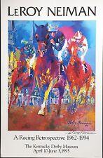 "LeRoy Neiman ""KENTUCKY RACING"" Lithograph HAND SIGNED Horse Equestrian Art"