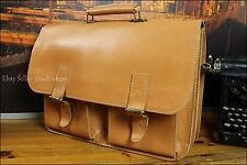 Vtg Scandinavian Style European Fresh Tan Leather Briefcase Attache Bag Backpack