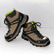 Quechua Novadry Beige Green Mid-Top Lightweight Hiking Boots Unisex Youth Size 3