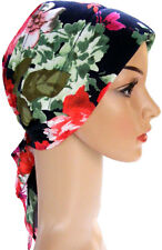 HEAD SCARF LIGHTLY PADDED FOR HAIR LOSS, CANCER, ALOPECIA. Navy-red-green-multi