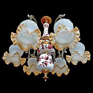 Fabulous Antique 1950 Art Deco/Frosted Art-Glass/Delft Porcelain/Gilt Chandelier