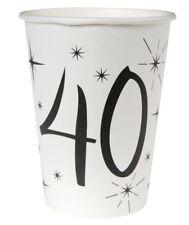 40. Geburtstag Pappbecher / Partybecher / Schwarz & Weiß