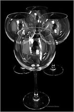 Set 4 Extra-Large 24oz Stemmed Balloon Sphere Red French Wine Glasses Goblets