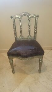 Imported SILVER Clad Sheathed CHAIR Silver Over Hand Carved Wood Frame Oak Rare