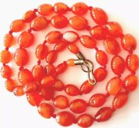 "Antique Vintage Hand Knotted Oval Carnelian Agate Bead Necklace 32"" GIFT BOXED"