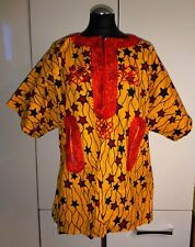 Stunning Traditional African Dashiki Style Top - Orange - size UK 16-18   (#B51)