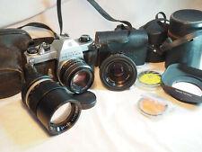 Lot appareil photo pentax spotmatic f avec accessoires et plusieurs objectifs
