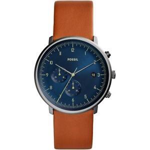 Orologio Uomo FOSSIL CHASE TIMER FS5486 Chrono Vera Pelle Marrone Blu