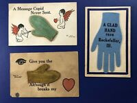 3 Greetings & Valentine GLOVE Novelty Antique Postcards. For collectors. Nice