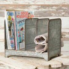 Galvanized Metal Magazine Rack- Rustic Country Farmhouse Decor