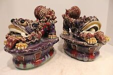 Beautiful Reverse Glazed Porcelain Pair of Foo Dog With Rolling Ball in Mouth