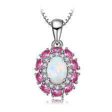JewelryPalace 0.91ct Created Opal Cluster Pendant 925 Sterling Silver
