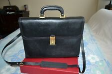 Auth Bally Leather Attache  Case Black Briefcase Unused With Strap Unused MINT