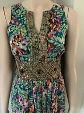 MONSOON SILK MAXI DRESS SPECIAL OCCASION BEADED METALLIC COLOURED SIZE 10