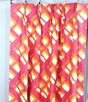 "Pair Vtg 70s Pink Orange Geometric Pinch Pleat Curtains Drapes 48x63"" Lined NOS"