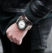 Set of 2 Black Mantra Buddha Beaded Bracelet For Men Luxury Jewellery UK Seller