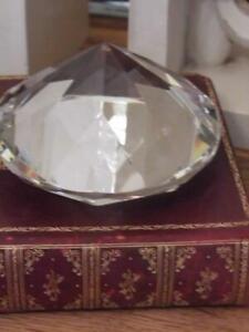 BEAUTIFUL VINTAGE CHIC LARGE DIAMOND GLASS PAPERWEIGHT DESK STUDY DISPLAY