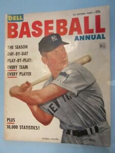 1953 DELL BASEBALL ANNUAL #1 - Mickey Mantle Cover -Excellent- NY Yankees