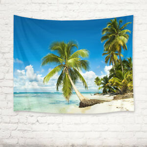Tropical Beach Palm Trees Sky Cloudscape Tapestry Wall Hanging Living Room Dorm