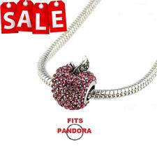 Silver Disney Snow White Apple Charm European Bead Fits All Bracelets