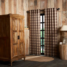 "FARMHOUSE COUNTRY PRIMITIVE DAWSON STAR BROWN PLAID 84""L PANEL CURTAINS"