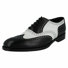 Mens Loake black/white Leather lace-up shoes SLOANE F  width fitting