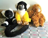 """3 x  NATURE PLANET Monkeys Bundle Soft Toy Plush Comforters 8"""" - 10"""" Excellent"""