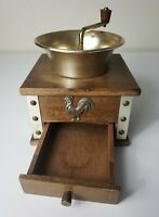 Vintage Farmhouse Wooden Coffee Grinder Drawer Gold Tone Hardware and Rooster