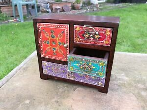 Hand Painted 3 Drawer Mini Chest, 1 Door, Fair Trade, Mango Wood, Made in India