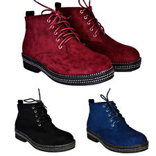 Women Ankle Boots Ladies Casual Low Heel Flat Shoes Lace Up Platform Booties New