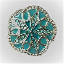 Noosa Ginger Style Snap Button Chunk Charms Blue Crystal Snowflake 20mm