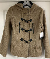Kensie Hooded Wool Blend Duffle Coat Toggle Jacket Women's Size XS Hazelnut New!