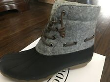 NIB Women's STEVE MADDEN Gray Duck Rain Rubber Boots, Size 10, TORRENT, NICE!