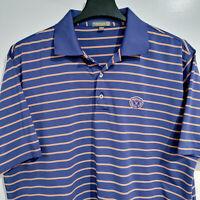 PETER MILLAR Summer Comfort Men's XL Polo Golf Shirt Blue w/ Salmon Stripe