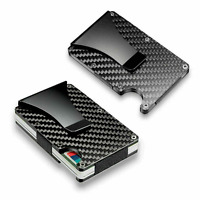 RFID Blocking Slim Carbon Fiber Money Clip Card Holder Metal Men's Wallet Gift