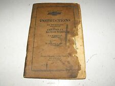 Chevrolet Motor Cars National Series A & B 1928 Original Instructions Manual