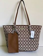 NEW! NINE WEST SOCIETY GIRL BROWN LARGE SHOPPER TOTE BAG PURSE w/ WRISTLET POUCH