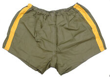 Vintage Army PT Shorts olive green yellow stripes cotton hot pants retro sports