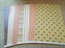 3 Sheets of Sampler browns//tans 49D-612 Dollhouse Wallpaper