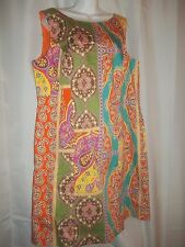 Ladies Size 16 Peter Nygard Paisley Print Lined Colorful Sleeveless Dress NWOT