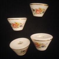 4 bobèches en porcelaine décor de fleurs, de roses  pour lustre