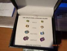 Set of 4 Stud Earrings 18k Gold 925 Silver Amethyst Peridot Citrine Blue Topaz