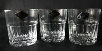 Three Rare Royal Brierley Eton Lead Crystal Whisky Glasses Tumblers