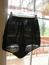 Vintage Granny Panties Silky Black Nylon High Waist Size 6 dbl nylon gusset