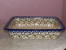 Polish Pottery UNIKAT Lasagna Baker! Fern Gully Pattern!