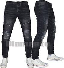 Jeans uomo Nero Biker slim pantaloni Denim elasticizzati 917