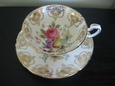 PARAGON PINK ROSE FRUIT GOLD TEACUP AND SAUCER